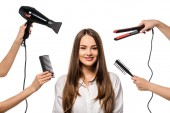 women holding accessories of hairdresser around beautiful girl looking at camera