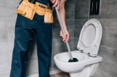 částečný pohled mužského instalatér pomocí pístu a čištění WC v koupelně