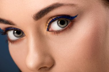 cropped view of female eyes with blue eyeliner and perfect skin