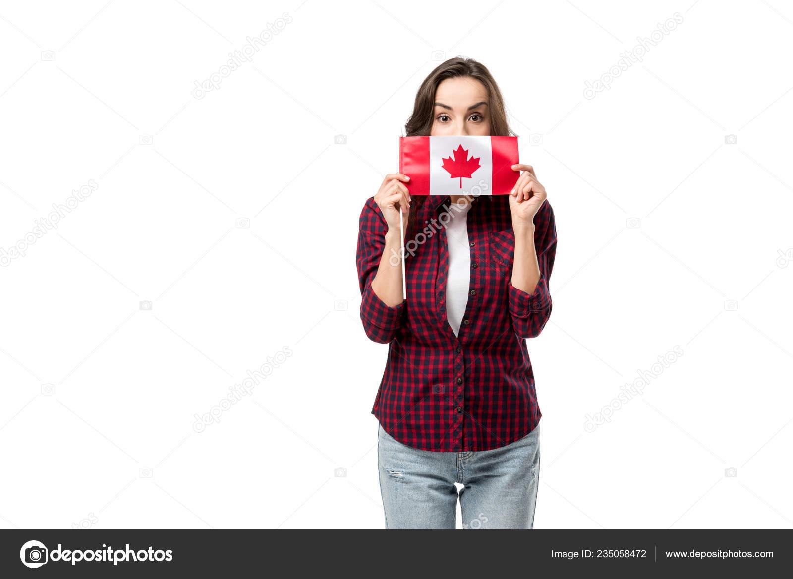 super popular 35bd3 2bef6 Donna Abbigliamento Casual Che Tiene Bandiera Canadese ...