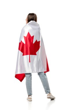 back view of woman covered in canadian flag isolated on white