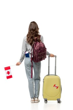 Back view of female student with suitcase and canadian flag isolated on white, studying abroad concept stock vector