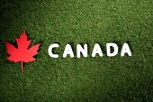 Fotografie word Canada with maple leaf on green grass background