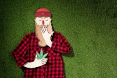 Fotografie cardboard man in plaid shirt holding cannabis and covering mouth with hand on green grass background, marijuana legalization concept