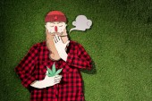 Fotografie cardboard man in plaid shirt holding cannabis and smoking on green grass background, marijuana legalization concept