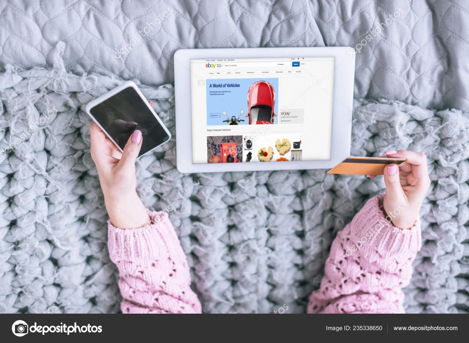 Cropped View Woman Holding Credit Card Smartphone Digital Tablet Ebay Stock Editorial Photo C Vitalikradko 235338650