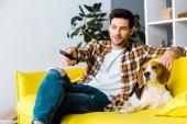 Fényképek mosolygó ember, távirányító, tv-nézés és a kutya a kanapén ül