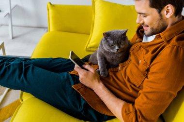 gülümseyen yakışıklı ile kedi kanepede otururken Smartphone kullanarak