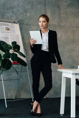 Attractive young businesswoman using digital tablet while standing by work desk in office