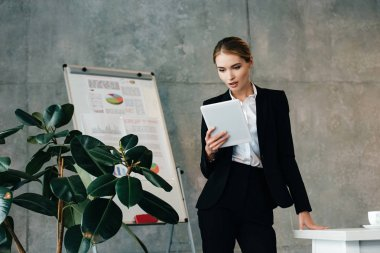 young businesswoman using digital tablet while standing by workplace