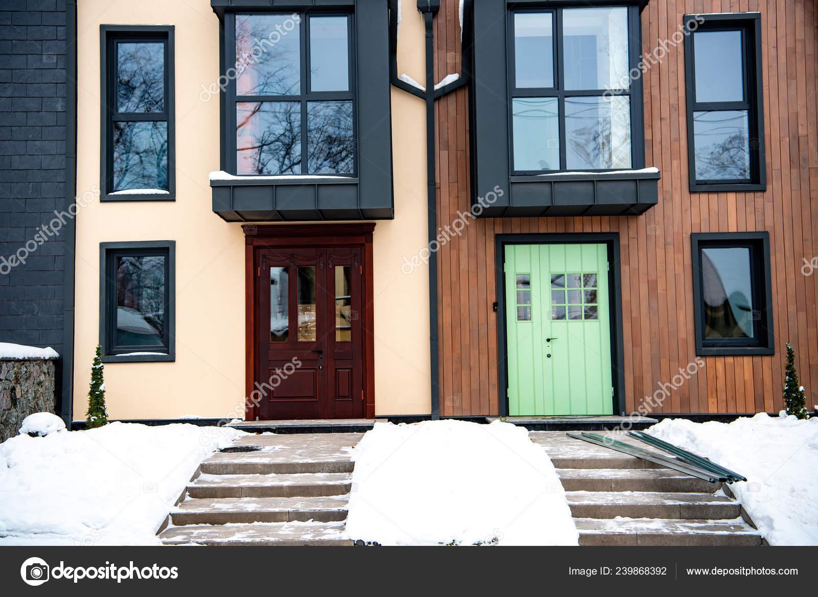 Pictures Houses Windows Stylish Modern Houses Windows Doors Winter Stock Photo C Vitalikradko 239868392