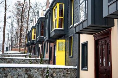 fancy buildings near trees in cold winter