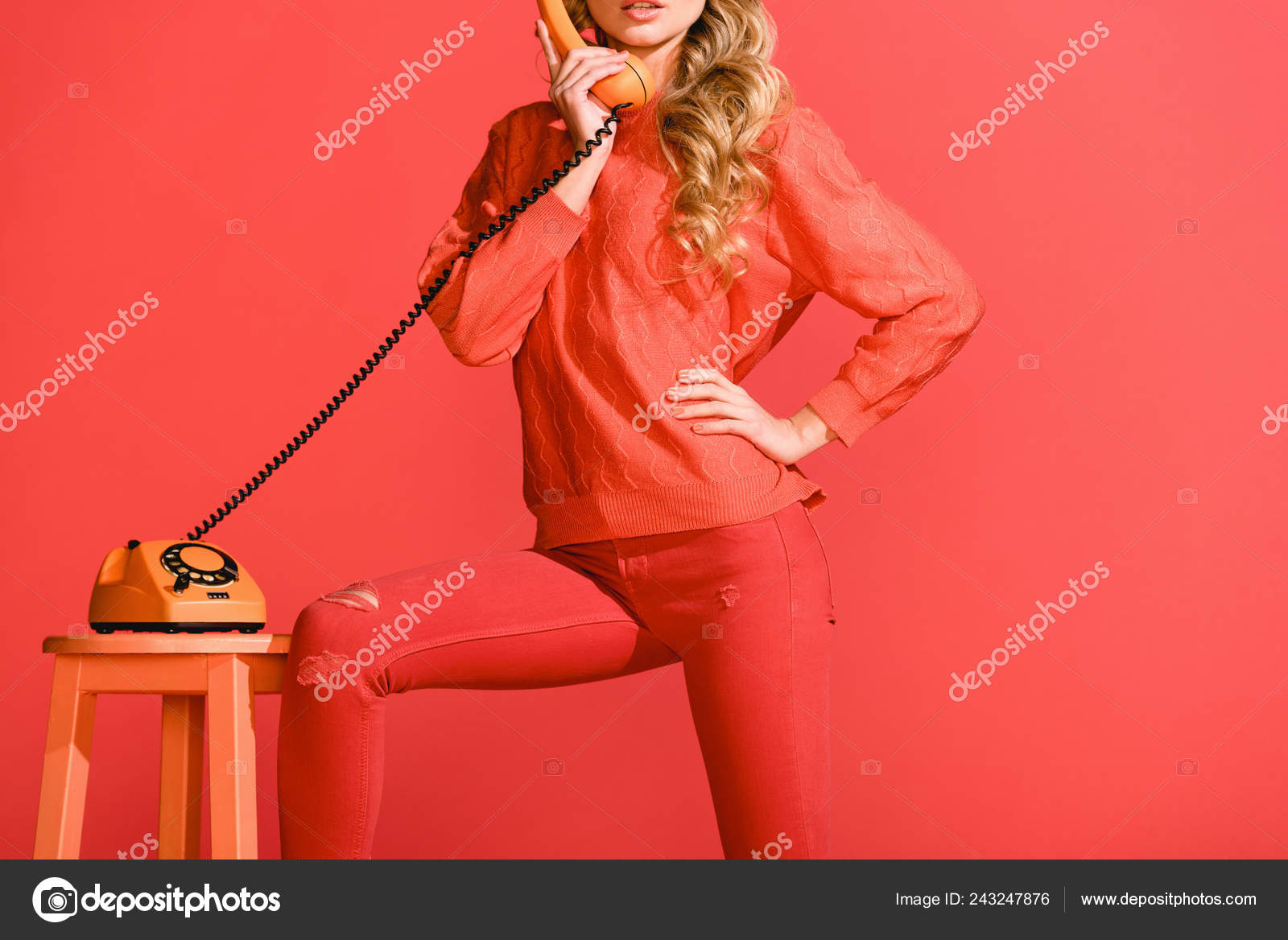 Cropped View Girl Posing Retro Rotary Telephone Isolated