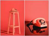 Collage mit lebenden Korallen Vintage-Telefon auf Hocker. Pantonefarbe des Jahres 2019