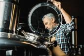 hivatásos férfi sörgyár munka overall söripari berendezések ellenőrzése