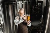 vedoucí sládka při pohledu na sklenici piva v pivovaru