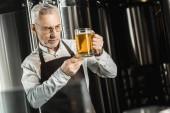 Fotografie handsome senior brewer examining beer in glass in brewery