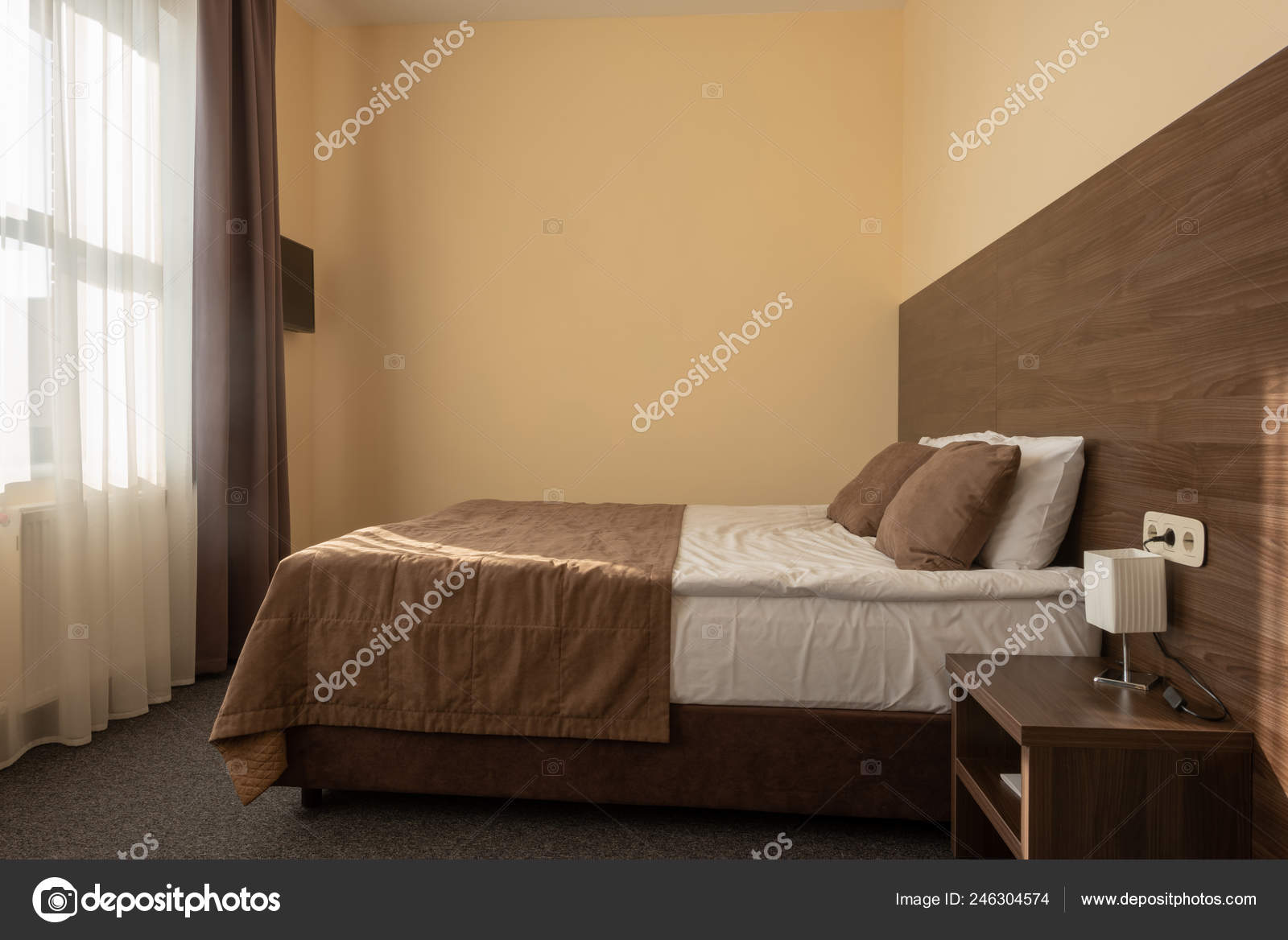 Modern Hotel Bedroom Interior Bed Brown Color — Stock Photo ...