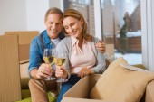 Photo selective focus of happy couple clinking glasses of white wine while sitting by cardboard boxes at new home