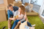 Photo smiling couple clinking glasses of white wine while sitting by cardboard boxes at new home