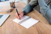 vágott Kilátás jegyzetfüzet modern irodában írásban üzletember