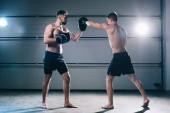 sportlich muskulös shirtless Boxer üben Schlag mit einem anderen Sportler während des Trainings