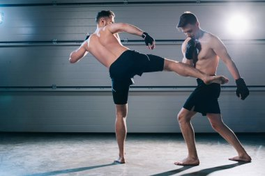 Back view of barefoot mma fighter kicking opponent with leg stock vector