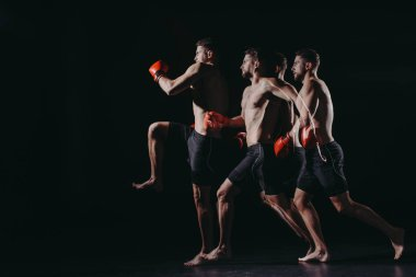 multiple exposure of strong muscular mma fighter in boxing gloves doing kick in jump