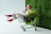 krásná stylová holka, zatímco sedí v nákupní košík s kapradí a květy na bílém pozadí s trávou při pohledu na fotoaparát