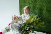 Krásná módní dívka sedící v nákupním košíku s kapradí a květy na bílém pozadí s trávou