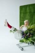 krásná stylová holka sedí v nákupní košík s květy na bílém pozadí s trávou