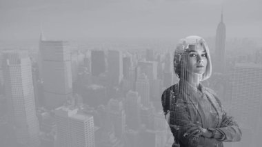 double exposure of attractive woman with crossed arms and new york cityscape