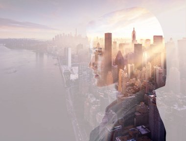 Double exposure of beautiful woman profile and new york evening cityscape stock vector