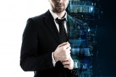 Fotografia double exposure of businessman in formal wear and silhouette of night city buildings isolated on white