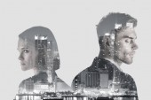 double exposure of handsome man and pretty woman and new york evening cityscape