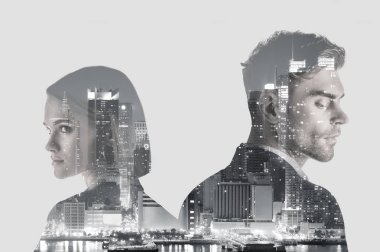 Double exposure of handsome man and pretty woman and new york evening cityscape stock vector