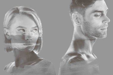 Double exposure of beautiful woman and handsome man and hills and sky on grey stock vector