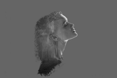 double exposure of beautiful woman profile and forest trees isolated on grey