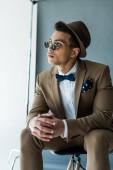 Stilvoller Mischling in Anzug und Sonnenbrille sitzt auf Stuhl und schaut weg