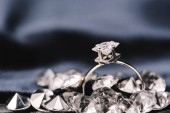 selective focus of engagement ring with pure shiny diamond