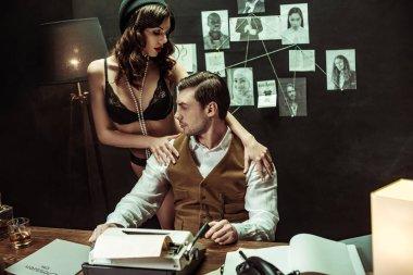 Sexy girl in black lingerie seducing detective in dark office stock vector