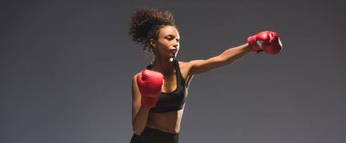 panoramic shot of beautiful athletic african american sportswoman boxing isolated on black with copy space