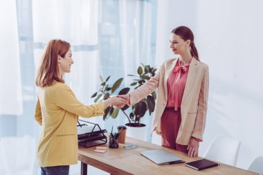 cheerful employee and female recruiter shaking hands in modern office