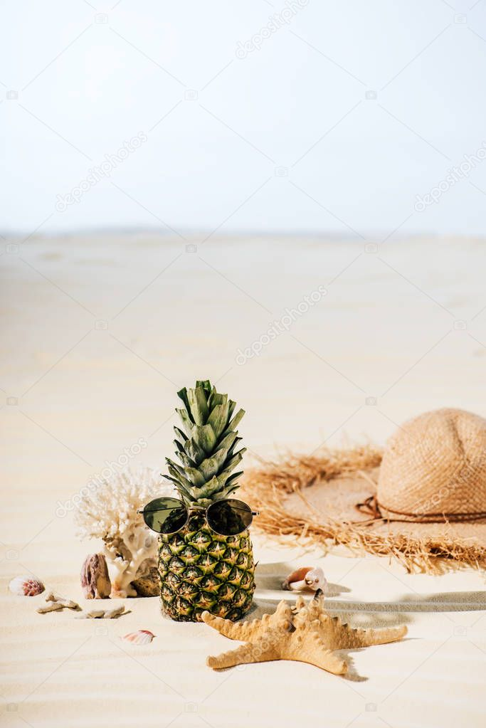 pineapple with sunglasses, starfish, Straw Hat and sea stones on beach with copy space