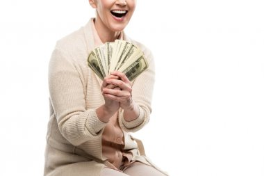 Cropped view of happy middle aged woman with dollar banknotes Isolated On White stock vector