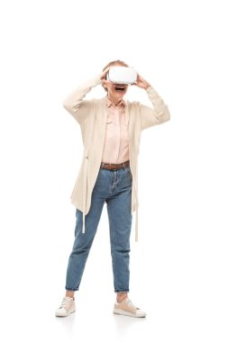excited woman in vr headset experiencing Virtual reality Isolated On White
