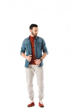 Handsome bearded man in denim shirt looking away isolated on white stock vector