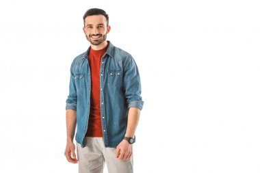 Happy handsome man in blue denim shirt looking at camera isolated on white stock vector