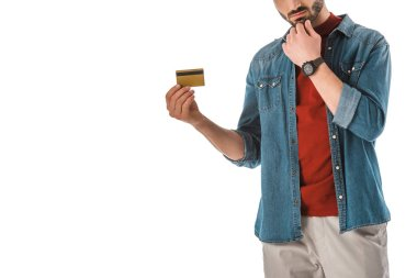 Adult man in denim shirt holding credit card isolated on white stock vector