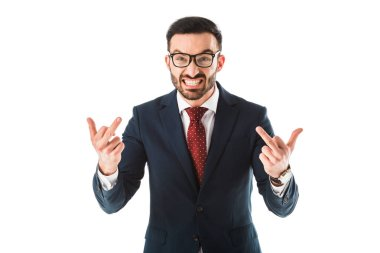 Irritated businessman showing middle fingers while looking at camera isolated on white stock vector